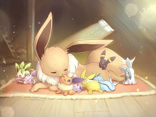 Pokémon wolpeyper possibly with a bouquet entitled Eevee Evolutions