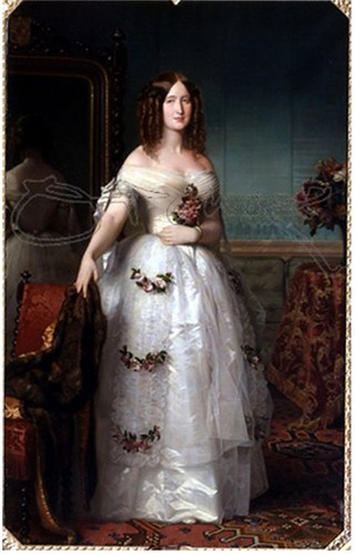 王と女王 壁紙 probably with a bridesmaid and a bridal ガウン entitled Empress Eugenie de Montijo によって Federico Madrazo y Kunz 1849