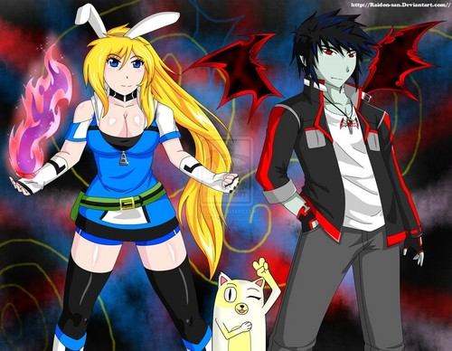 fiolee (fionna e marshal lee) wallpaper containing animê entitled Fionna, Cake and Marshall