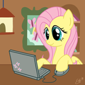 Fluttershy browsing the internet