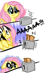 Fluttershy is scared of pemanggangan, pemanggang roti