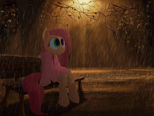Fluttershy Hintergrund possibly with a brunnen titled Fluttershy out in the rain