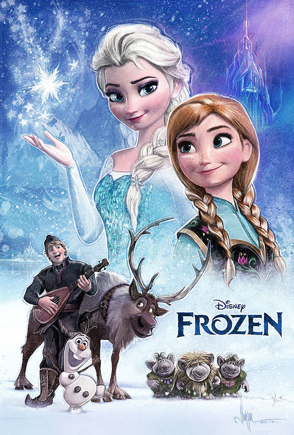 elsa and anna frozen poster by paul shipper