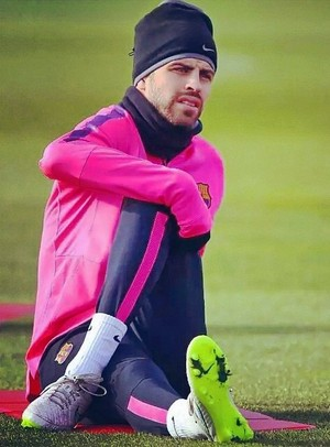Gerard Piqué during a FC Barcelona training session 2014-12-08