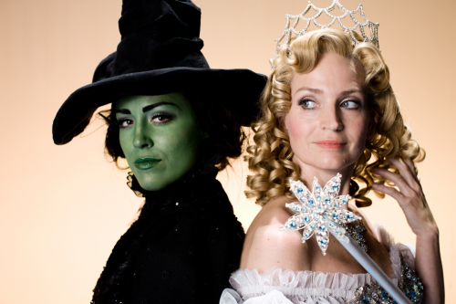 Wicked wallpaper possibly containing a mantelet and a mantilla titled Glinda and Elphaba