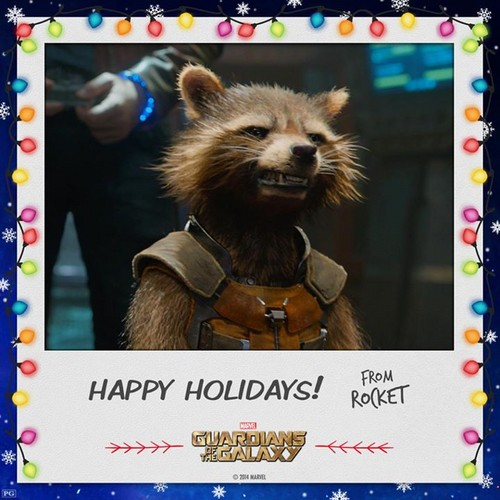 Guardians of the Galaxy 바탕화면 titled Happy Holidays from Rocket