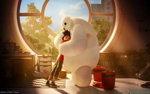Heartfelt hug in this lovely wallpaper for Big Hero 6