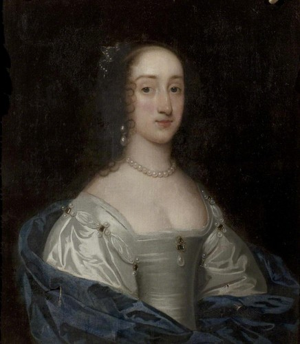 Kings and Queens wallpaper probably with a polonaise and a kirtle entitled Henrietta Maria of France attributed to Sir Anthonis van Dyck