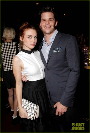 Holland Roden and her boyfriend Max Carver take a cute picture together while attending Just Jared�