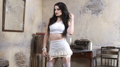 WWE Divas wallpaper probably with bare legs, a chemise, and attractiveness entitled House of Haunted Divas - Paige