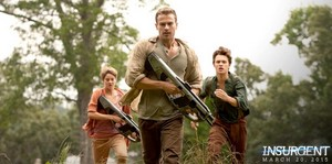 Insurgent movie still with Tris,Four and Caleb