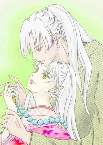 Inuyasha karatasi la kupamba ukuta probably containing anime titled Sesshōmaru's parents