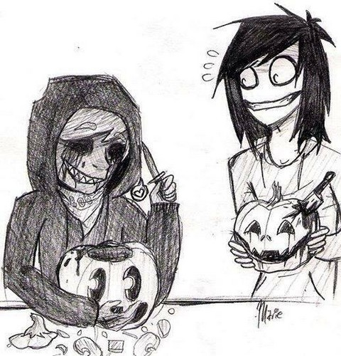 Jeff the killer hình nền containing anime titled Jeff and EJ carve pupkins