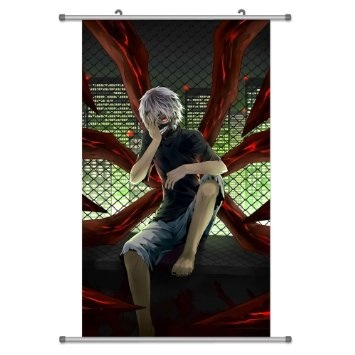 Tokyo Ghoul wolpeyper probably with a sign and a window upuan titled Kaneki Wallscroll