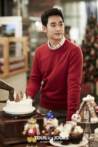 Kim SooHyun 壁纸 probably with a holiday 晚餐 and an 开胃菜, 开胃小菜 titled Kim Soo Hyun is ready for 圣诞节 with 'Tous Les Jours'