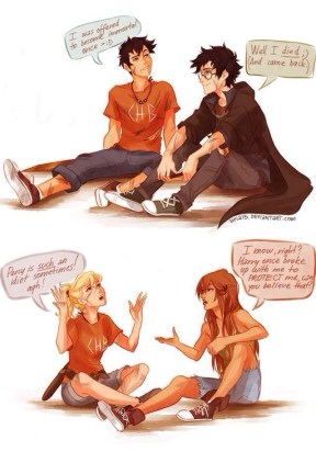 Lol Harry Potter and Percy Jackson BFFs