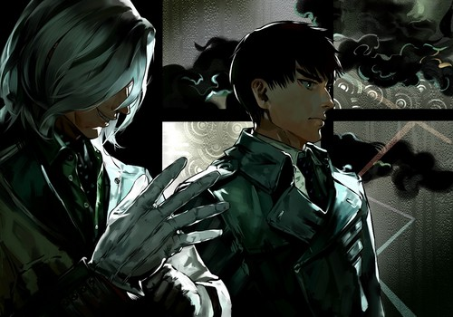 Tokyo Ghoul wolpeyper possibly containing a green beret, panlabang uniporme, and uniporme titled Mado and Koutarou