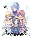 Namine, Aqua, Kairi, and Xion - kingdom-hearts fan art