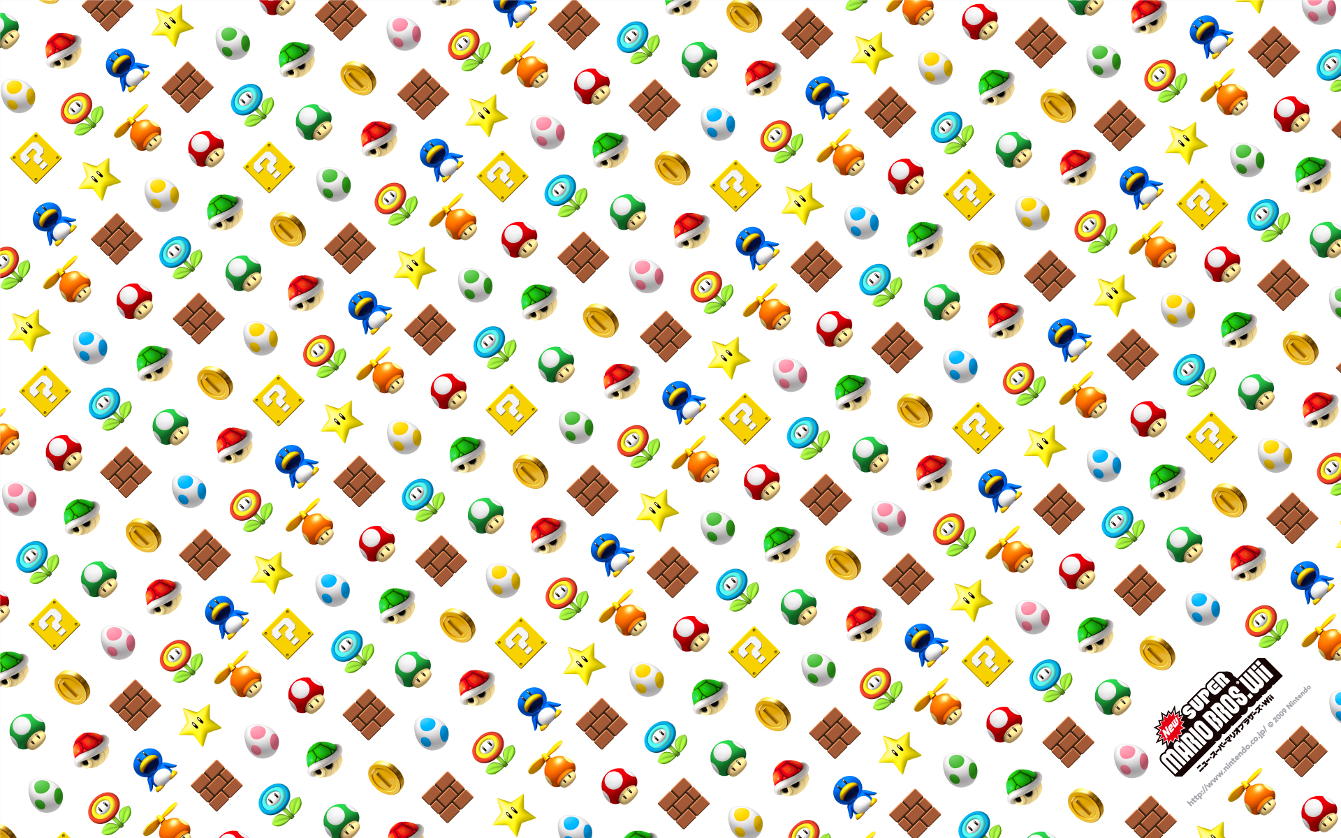 New Super Mario Bros. Wii Items Background