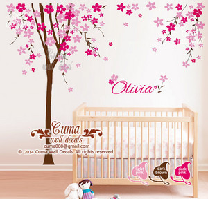Nursery dinding decal ceri, cherry blossom pohon with baby name decal office dinding decals nursery dinding decal