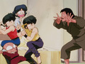 Playing around Soun found an opportune moment to scare ranma, akane , ryoga, and happosai