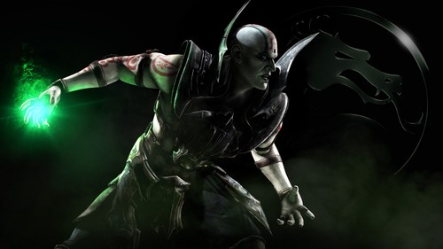 Mortal Kombat wallpaper with a fountain and a sign called Quan Chi: Necromancer and member of the Brotherhood of the Shadow