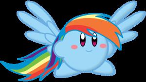 pelangi, rainbow Dash as Kirby