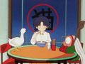 Ranma 1/2_Akane eats рамен, ramen, рамэн at the cate cafe with cologne and мусс (whose currently a duck)