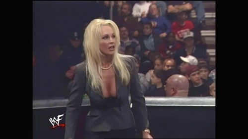 Frühere WWE-Diva… Debra Hintergrund containing a well dressed person and a portrait entitled Raw - 12.7.98