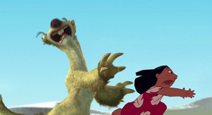 Sid and Lilo running from Rhinos