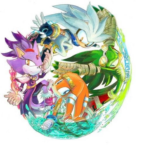Sonic the Hedgehog wallpaper possibly with a red cabbage titled Silver,Blaze,Tikal,and Jet
