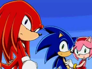 SonAmy in background of Sonic X