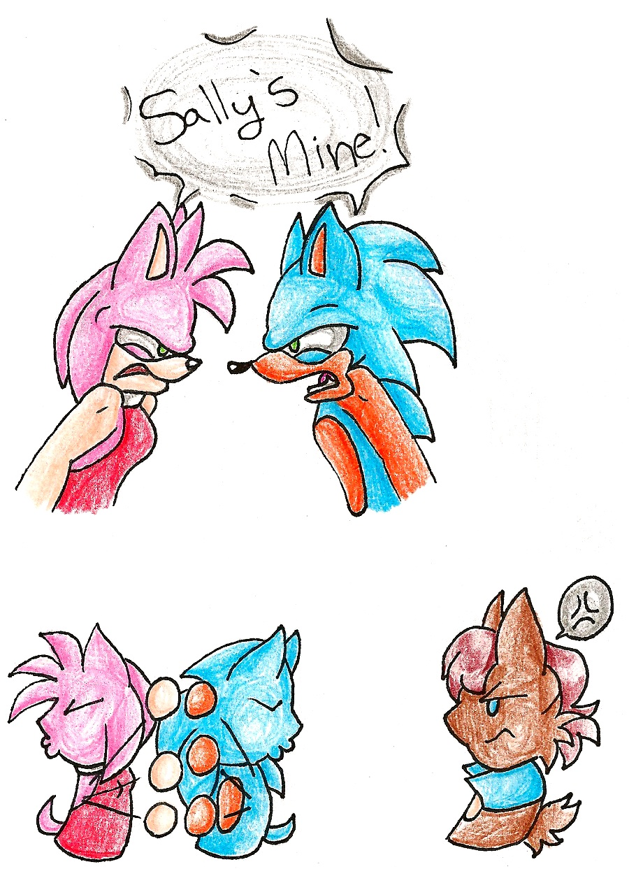 Sonic and Amy fight for Sally