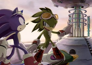 Sonic and Jet rasces to the crimson crater