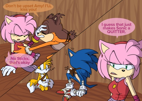 Nhím Sonic hình nền containing anime called Sonic can't Kiss Amy