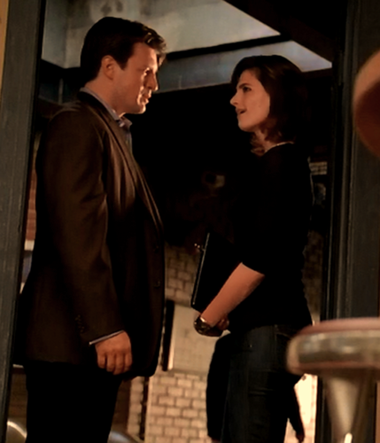 Nathan Fillion & Stana Katic wallpaper containing a business suit called Stanathan-BTS season 2