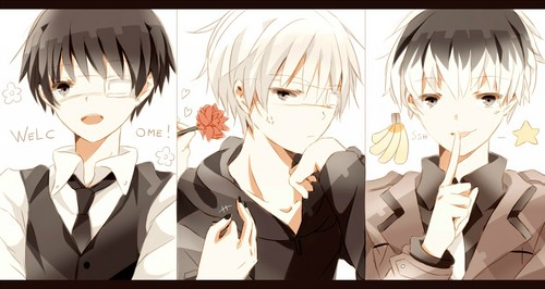 Tokyo Ghoul (Токийский гуль) Обои possibly with a шпатель called The Three Kaneki's