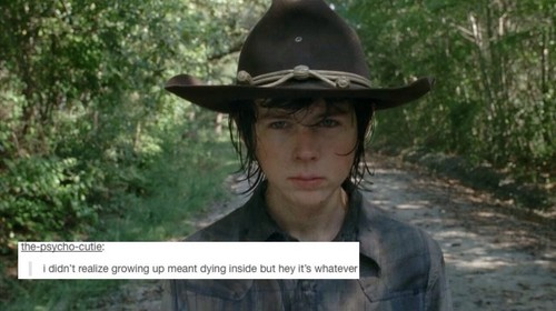The Walking Dead Hintergrund with a snap brim hat, a fedora, and a campaign hat called The Walking Dead | Tumblr Text Post - Carl