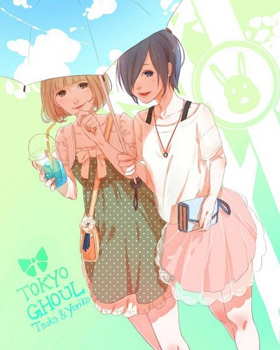 Tokyo Ghoul kertas dinding probably with a parasol and a portrait titled Touka and Yoriko