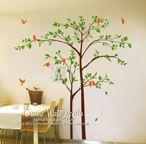나무, 트리 and birds 벽 decal