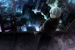 White-Haired Kaneki kertas dinding