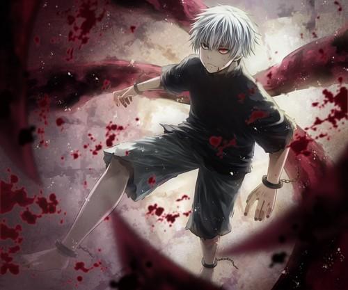 Tokyo Ghoul karatasi la kupamba ukuta titled White-Haired Kaneki