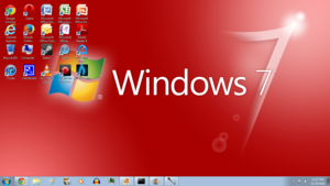 Windows 7 Red Screenshot 1366x768