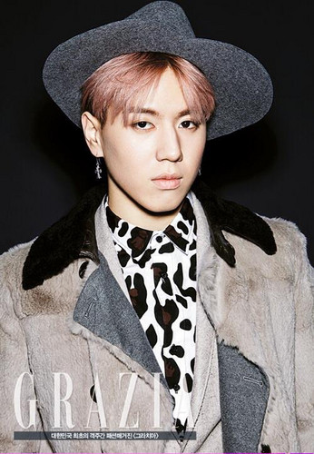 GOT7 壁紙 possibly containing a box coat, an outerwear, and an overgarment titled Yugyeom hottie~Grazia magazine❤ ❥