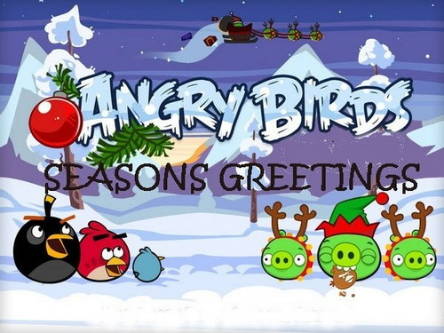 angry birds wallpaper probably containing anime entitled angrybirdschristmas.1