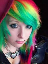 emo girl with rainbow hair