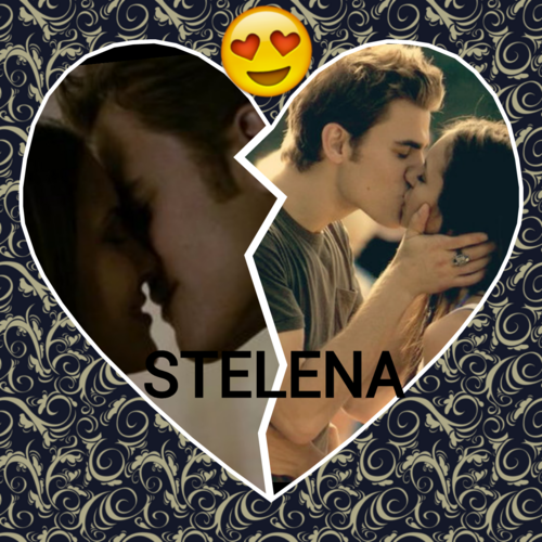 Stefan & Elena fondo de pantalla probably containing a sign and a portrait called hot kisses