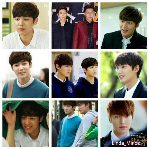 Kang Min Hyuk দেওয়ালপত্র probably containing a business suit and a portrait titled lee min ho and kang min hyuk in drama heirs