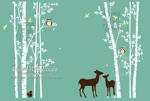 tree wall decal animal deer squarrel forest Vinyl wall decals wall decal nursery wall sticker