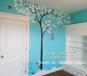 pokok dinding decal birds dinding decals office dinding mural nursery dinding stcker children dinding decals -